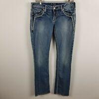 Silver Jeans Women Plus Aiko Mid Rise Slim Boot Joga Jeans in Dark Blue