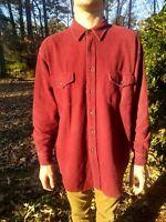 St Johns Bay Chamois Heavy Flannel Maroon Long Sleeve Shirt Size XL