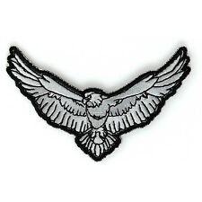 Embroidered Small Black White Eagle Sew or Iron on Patch Biker Patch