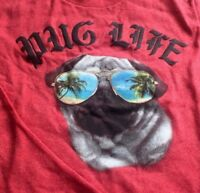 Pug Life Boys Cool Dog Funny Red T-Shirt Size Small 6/7