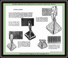 Handbag BAG Wristlet Sack CASUAL or BRIDAL Fabric Pattern Vtg MO 50s BUTTERICK