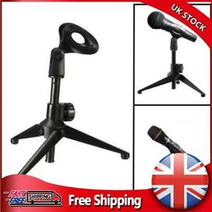 Foldable Adjustable Small Desk/Table Top Microphone Stand Mic Tripod Clip Holder