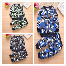 2pcs Kids Baby Boys Sport Camouflage Suit Long Sleeve Coat+Pants Cotton Clothes