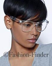Classic White Crystal Clear Transparent Lens Thin Frame Big Eye Glasses Specs L