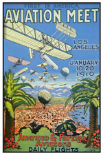 1910 Los Angeles Aviation Meet Poster 12 x 18 - Flying Machines, airplanes