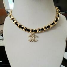 Pre Own CC Leather strap Gold-Tone Crystal Pedant Choker Necklace