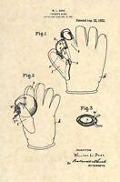 Official Vintage 1922 Baseball Glove US Patent Art Print- Original Antique 320