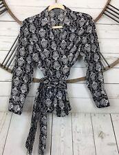Ann Taylor Outlet Wrap Blouse Black White Printed Long Sleeve Womens Size 10