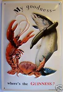 Guinness Fish & Lobster Blechschild Schild 3D geprägt Tin Sign 20 x 30 cm