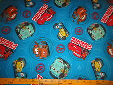 Pixar Cars Lightning MC QUEEN & FRIENDS Round Patch Cotton Fabric BTY