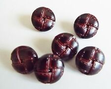 6 SMALL DARK BROWN  LEATHER LOOK 'FOOTBALL' COAT JACKET KNITWEAR BUTTONS 15mm