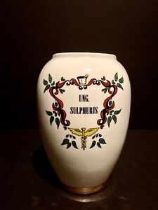 Vintage Blair Pottery Pharmaceutical Apothecary Jar, Ung Sulfuris, No Cover