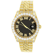 Stainless Steel Iced Out Band Solitaire Black Roman Dial Gold Tone Watch