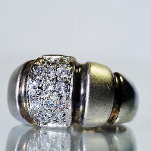 Vintage 18K Satin Finish White Gold GE Faux CZ Ring Size 7