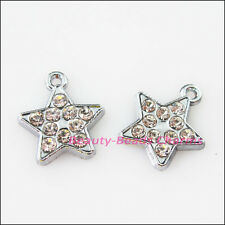 5Pcs Dull Silver Lovely Star Crystal Charms Pendants 15x17mm