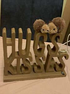 Next HedgeHugs Word Block Hugs & Kisses Hedgehog Sentiment Ornament Sculpture