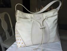 TOD'S Beige Leather & Fabric Shoulder Bag w/ Drawstring, Studs Accent - Italy