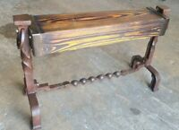 Rustic Industrial Andiron Fire Dog Ottoman Foot Rest Bench Custom Upcycled