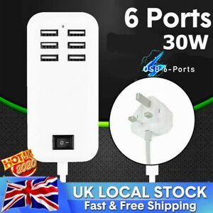 Multi 6-Ports USB Phone Charger Socket Fast Charging Station Adapter UK Plug