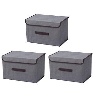 3er Set Aufbewahrungsbox Faltkiste Regalkorb Stoff Faltbar Organizer Faltbox