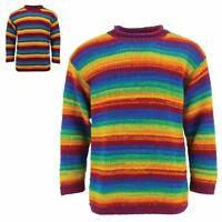 Wool Jumper RAINBOW Chunky Knit Knitted Sweater Pullover LoudElephant Roll Crew
