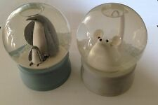 MARTHA By Mail Snowdome Snow Globes TWO - Mouse AND Penguin - Martha Stewart