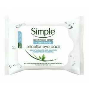 3X NEW SIMPLE MICELLAR MAKE-UP REMOVER EYE PADS 30 PADS FOR DRY SKIN WATER BOOST