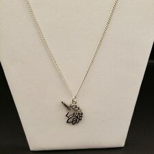 Silver Tone Unicorn Necklace Fantasy Mythical Magical Cute 24 inch Chain