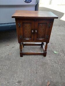 Vintage Priory Old Charm Carved Oak Cabinet Cupboard Storage Unit Table Pedestal