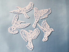 5 x Large White Guipure Lace,Applique,Trimmings,Wedding Birds Motif
