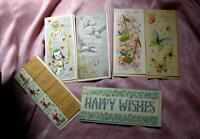 6 BEAUTIFUL VTG 1950'S UNUSED MIXED GREETING CARDS W ENVELOPES, EMBOSSED W GOLD