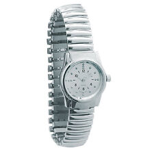 Ladies Chrome Braille Watch - Expansion Band, Silver Dial