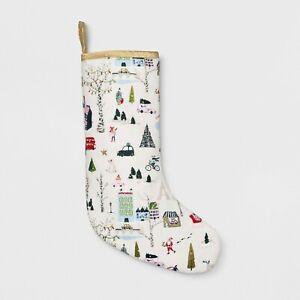 """Winter City Scene Holiday Stocking Xmas 20"""" Opalhouse"""