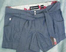 Neues AngebotFENCHURCH Shorts Chambray Blau 1940s Landgirl Bindegürtel Taschen SZ 14 32 Reg NEU