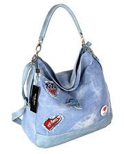Tasche Damen Handtasche Umhängetasche Schultertasche XL Jeanstasche mit Patches