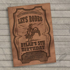 Leather Rodeo Birthday Invitations / PBR Bull Riding Western / Set of 10 PRINTED