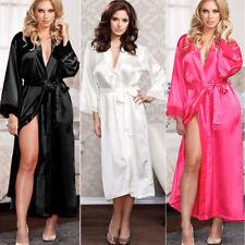 Ladies Womens Sexy Luxury Satin Long Sleeve Night Robe Dressing Gown Wrap Kimono