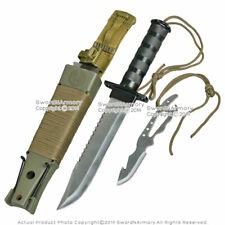 """14"""" Fixed Blade Military Serrated Complete Survival Knife W/ Kit & Sheath"""