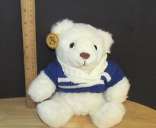 Russ soft pets Caress Soap white polar Bear Plush Teddy blue sweater w/ Tags