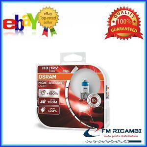 KIT LAMPADINE LAMPADE H3 NIGHT BREAKER LASER 12V 55W OSRAM +150%