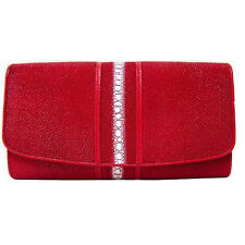 PKK Genuine Stingray Skin Leather Row stone Trifold Long Wallet - Fire Red