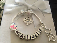 Personalised girls ANY NAME big sister paw kitty cat charm bracelet gift box