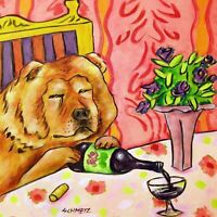 chow chow WINE BAR picture GIFT dog art tile coaster