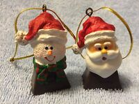 Miniature Santa Claus Bell and Snowman Bell Christmas Ornaments
