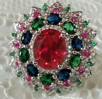 Gorgeous Sparkling Sterling Silver Multiple Color Spinel Cocktail Ring Size 6.25