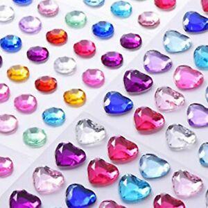 SMALL-LARGE HEARTS & GEMS DIAMANTE Craft Jewel Rhinestone Stick On Bling 2-10mm
