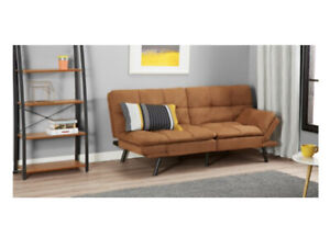 Convertible Memory Foam Futon Couch Sleeper Seat Camel Suede Polyester Guest Bed