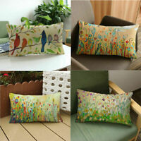 New Rectangular Creative Flower Bird Patern Pillow Case Cushion Cover Home Decor