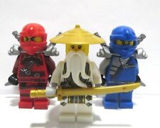 Genuine LEGO 3 minifigura Ninjago Sensei Wu SPADA D'Oro & Rosso Kai Blue Jay NINJA