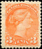 1873 Mint H Canada F-VF Scott #37 3c Small Queen Issue Stamp
